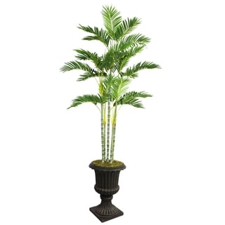 "Laura Ashley 82"" Tall Palm Tree in 16"" Fiberstone Planter"