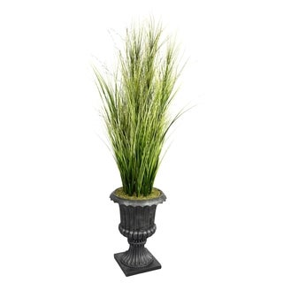 "Laura Ashley 74"" Tall Onion Grass with Twigs in 16"" Fiberstone Planter"