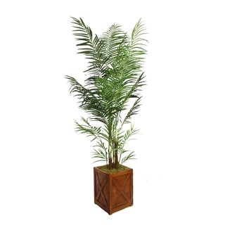 "Laura Ashley 85"" Tall Areca Palm Tree in 13"" Fiberstone Planter"