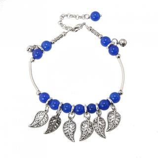 Handcrafted Miao Silver and Blue Agate Leaf Design Anklet (China)