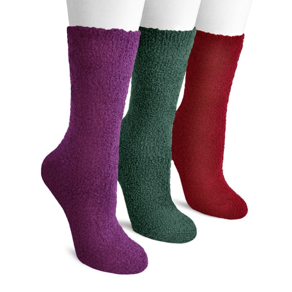 MUK LUKS Women's Three-Pair Pack Nonskid Crew Aloe Socks