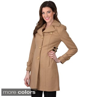 Kenneth Cole Women's Single Breasted Button Front Coat