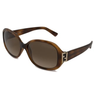 Fendi Women's FS5236 Rectangular Sunglasses - Havana Brown