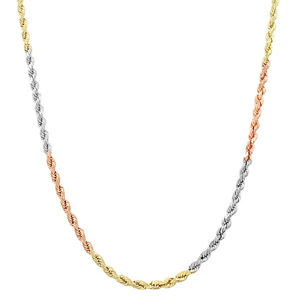 Fremada 10k Tri-color Gold 2.2-mm Hollow Rope Chain (20-24 inch)
