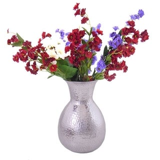 Handcrafted Aluminum Hammered 9 inch Flower Vase (India)