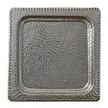 Handcrafted Aluminum Square Hammered Serving Tray (India)