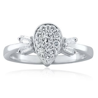 10k White Gold 1/8ct TDW Diamond Pear-shaped Ring (H-I, I1-I2)