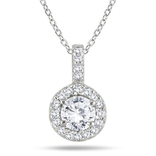 Marquee Jewels 10k White Gold 1/2ct TDW Diamond Halo Necklace (H-I, I1-I2)