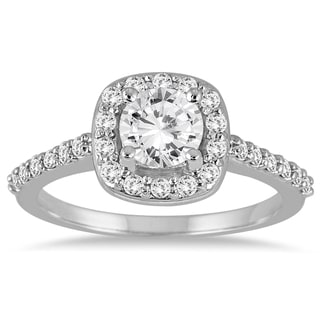14k White Gold 1 1/10ct TDW Diamond Halo Engagement Ring (I-J, I2-I3)
