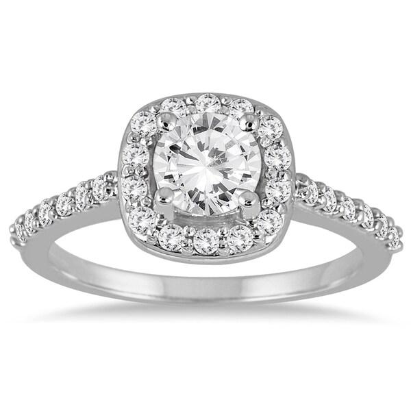 14k White Gold 1 1/10ct TDW Diamond Halo Engagement Ring (I-J, I2-I3)