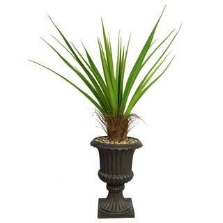 "Laura Ashley 58"" Tall Agave Plant with Cocoa Skin in 16"" Fiberstone Planter"