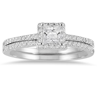 14k White Gold 5/8ct TDW Princess-cut Diamond Bridal Ring Set (I-J, I1-I2)