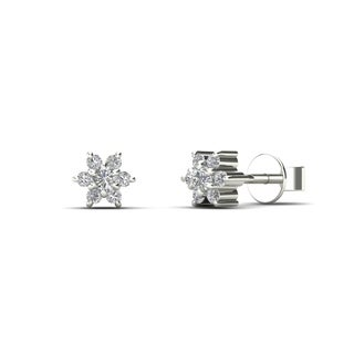 10k White Gold 1/10ct TDW Tiny Diamond Flower Earrings (H-I, I1)