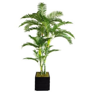 "Laura Ashley 78"" Tall Palm Tree in 14"" Fiberstone Planter"