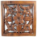 Square Mahagony Wood Floral Hanging Wall Decor