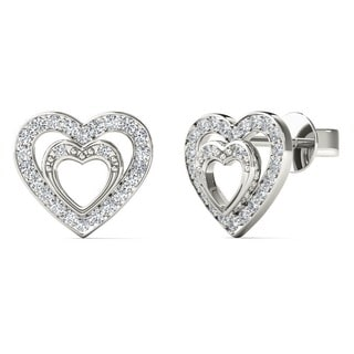 10k White Gold 1/6ct TDW Diamond Double Heart Tiny Stud Earrings (H-I, I2)