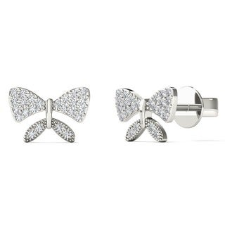 10k White Gold Diamond Accent Tiny Bow Earrings