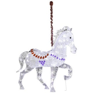 'Starry Night' Crystal Clear LED Light Carousel Horse