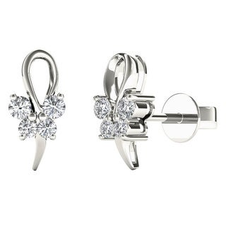 10k White Gold 1/8ct TDW Diamond Butterfly Tiny Stud Earrings (H-I, I1)