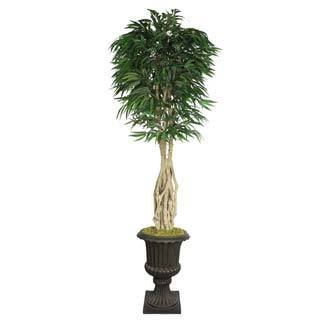 "Laura Ashley 92"" Tall Willow Ficus with Multiple Trunks in 16"" Fiberstone Planter"