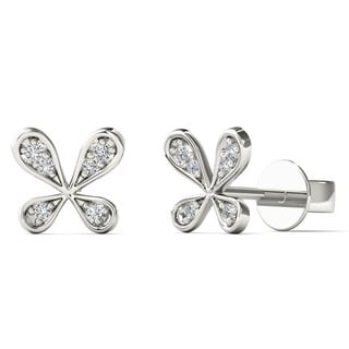 10k White Gold Diamond Accent Fashion Tiny Stud Earrings