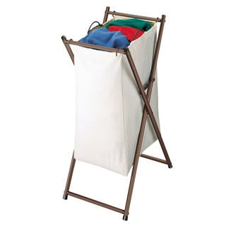 Richards Homewares Metallic Bronze and Canvas Rolling Laundry Hamper