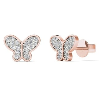 10k Rose Gold Children's 1/10ct TDW Diamond Butterfly Tiny Stud Earrings (H-I, I2)
