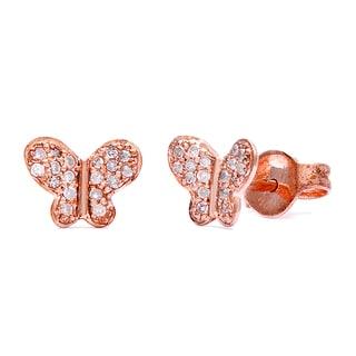 10k Rose Gold Children's 1/10ct TDW Diamond Butterfly Tiny Stud Earrings (H-I, I2)