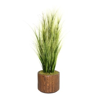 Laura Ashley 65-inch Tall Onion Grass with Twigs in 16-inch Fiberstone Planter
