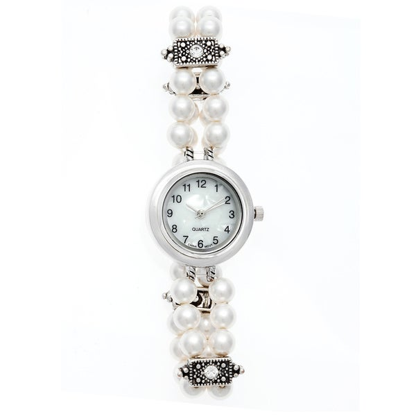 White Swarovski Pearl and Element Stretch Bracelet Quartz Watch