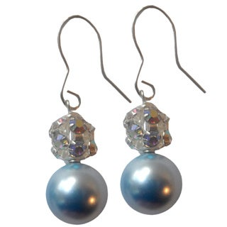 Sterling Silver Light Blue Faux Pearl and Pave Crystal Ball Dangle Earrings
