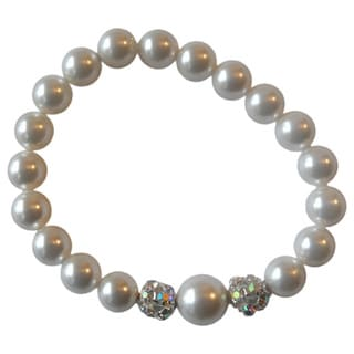 Girls White Faux Pearls and Silver Plated Pave Ball Stretch Bracelet