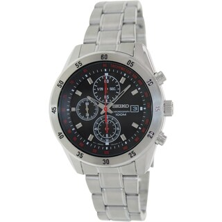 Seiko Men's SNDD49 Silver Stainless-Steel Quartz Watch with Black Dial