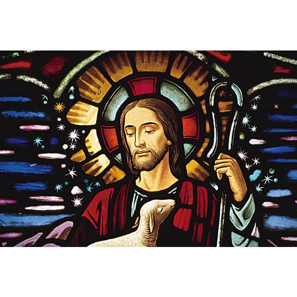 'Stained Glass of Jesus Christ, Cathedral, Christianity' Photography Wall Art Canvas Print