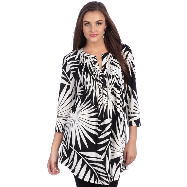 La Cera Women's Black/ White Printed Pleated Tunic