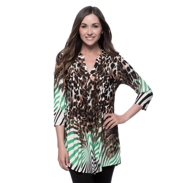 La Cera Womens Printed Pleated Top Tunic