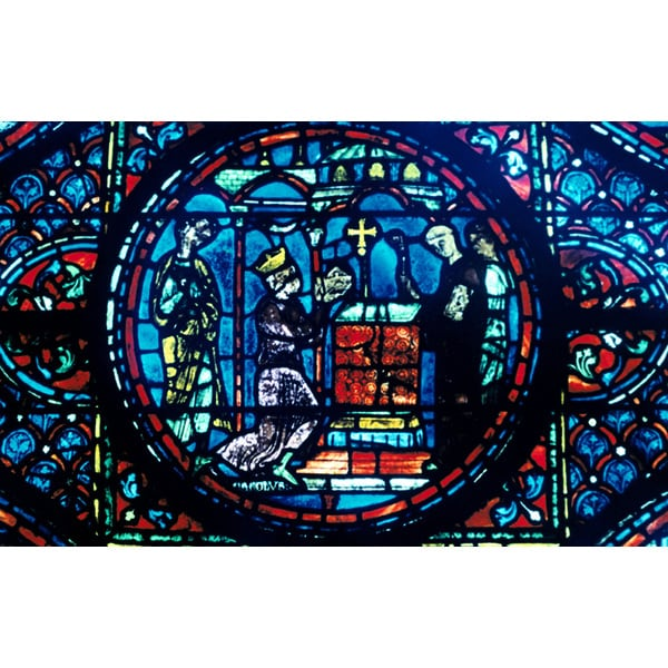 'Stained Glass Window from the Cathedral of Chartres, France' Photography Wall Art Canvas Print
