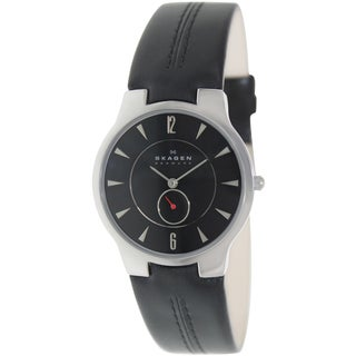 Skagen Men's 433LSLB Black Leather Quartz Watch with Black Dial