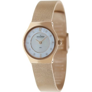 Skagen Women's Classic 233XSRR Gold Rose-Gold Quartz Watch with Mother-Of-Pearl Dial