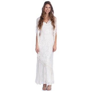Alex Evenings Mother of the Bride Silk Burnout Sleeveless, Cowl Neckline, Shawl Long Dress