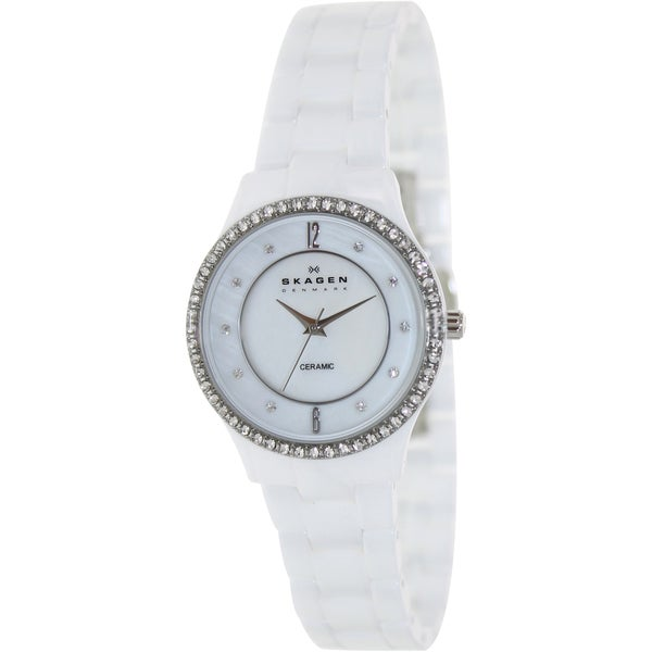 Skagen Women's 347SSXWC White Ceramic Quartz Watch with White Dial