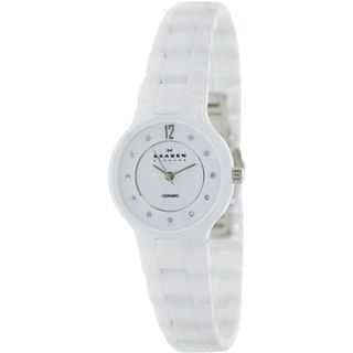 Skagen Women's Black Label 572SSXWC White Ceramic Quartz Watch with White Dial