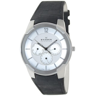 Skagen Men's 856XLSLC Black Leather Quartz Watch with White Dial
