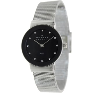 Skagen Women's Classic 358SSSBD Silver Stainless-Steel Quartz Watch with Black Dial