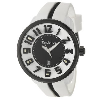 Tendence Men's 'Gulliver Round Black/White' Water-resistant Polycarbonate-and-Steel Watch