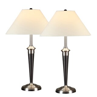 Artiva USA 2-piece Classic Brushed Steel and Espresso Finished 31-inch Table Lamp with Heavy-duty Base and Hammer Glass Shade