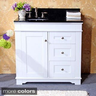 White Natural Granite Top 36-inch Single Sink Bathroom Vanity