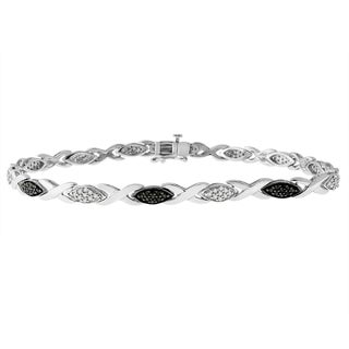 Sterling Silver 1/2 ct TDW Black and White Diamond Link Bracelet (Black, H-I, I1-I2)