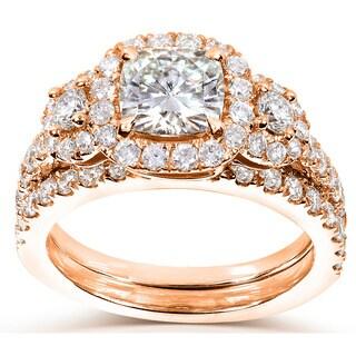 Annello 14k Gold Cushion-cut Moissanite and 1ct TDW Diamond Bridal Ring Set (G-H, I1-I2) with Bonus Item