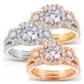 14k Gold Round Moissanite and 1 ct TDW Diamond 2-Piece Bridal Ring Set (G-H, I1-I2)